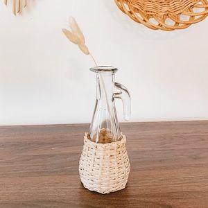 Vintage Wicker Wrapped Glass Cruet Boho Bud Vase